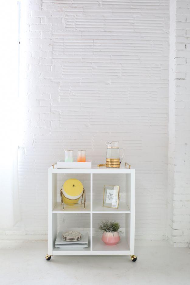 DIY Bookshelf Ideas - Turn Bookcase Into a Bar Cart - DYI Bookshelves and Projects - Easy and Cheap Home Decor Idea for Bedroom, Living Room - Step by Step tutorial #diy #diyideas #diydecor #homedecor