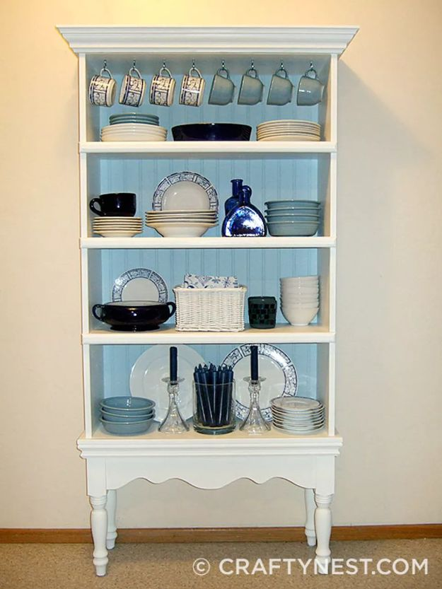 DIY Bookshelf Ideas - Turn a Bookcase into a China Hutch - DYI Bookshelves and Projects - Easy and Cheap Home Decor Idea for Bedroom, Living Room - Step by Step tutorial #diy #diyideas #diydecor #homedecor