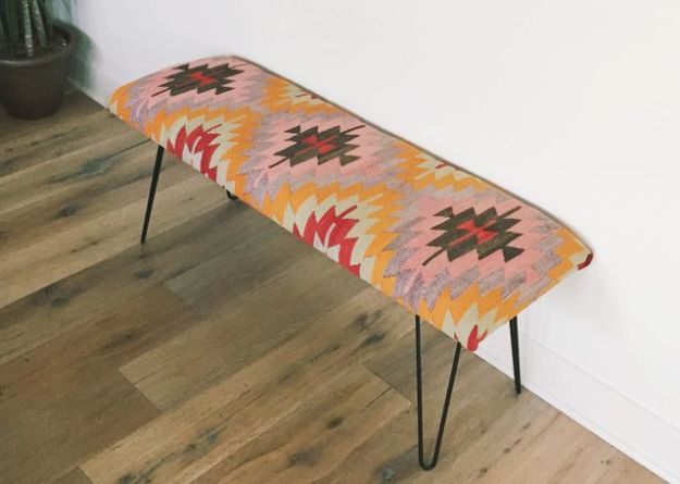 DIY Midcentury Modern Decor Ideas - Turn a Kilim Rug Into a Modern Bench - DYI Mid Centurty Modern Furniture and Home Decorations - Chairs, Sofa, Wall Art , Shelves, Bedroom and Living Room