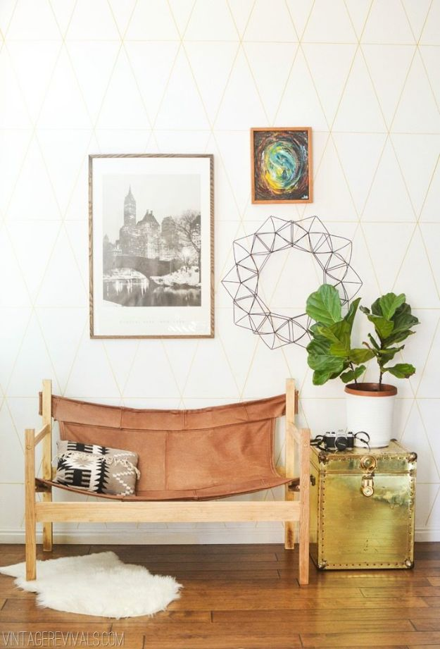 DIY Midcentury Modern Decor Ideas - Ugly Sofa Upcycled Into Leather Safari Sling Bench - DYI Mid Centurty Modern Furniture and Home Decorations - Chairs, Sofa, Wall Art , Shelves, Bedroom and Living Room