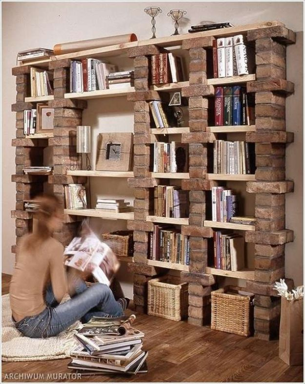 DIY Bookshelves - Wood and Brick Stackable Shelf - Easy Book Shelf Ideas to Build for Cheap Home Decor - Tutorials and Plans, Best IKEA Hacks, Rustic Farmhouse and Mid Century Modern