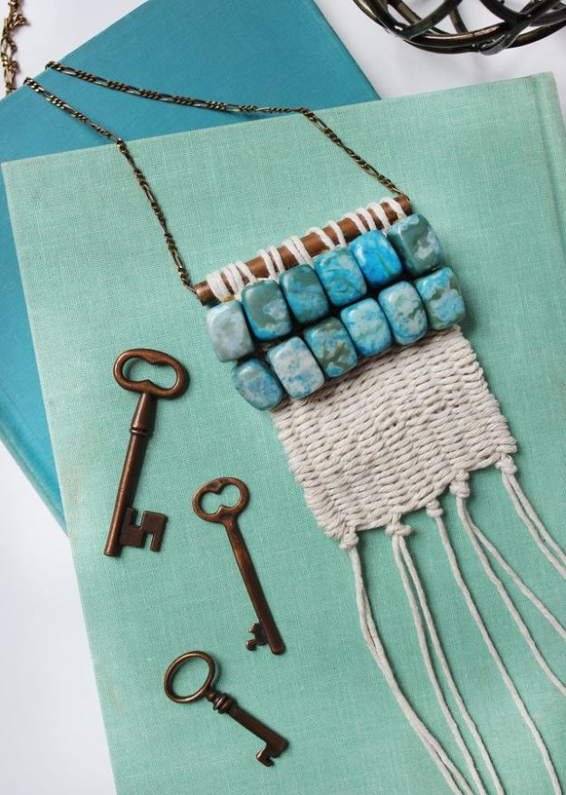 DIY Boho Clothes and Jewelry - Woven Necklace DIY - How to Make Easy Boho Fashion On A Budget - Edgy Homemade Hippe Clothing Ideas for Summer, Winter, Spring and Fall