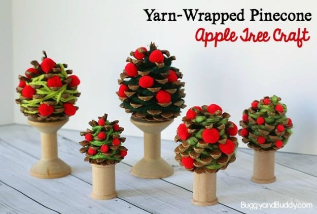 DIY Apple Crafts | Yarn-Wrapped Pinecone Apple Tree Craft - Cute and Easy DIY Ideas With Apples - Painting, Mason Jars, Home Decor
