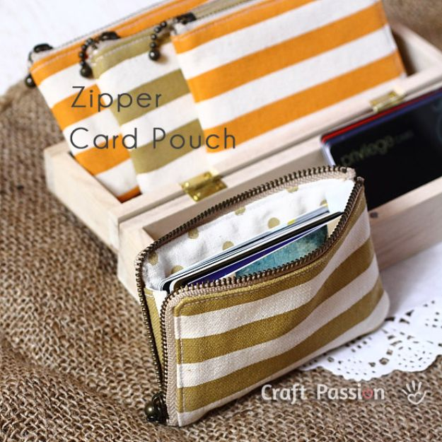 DIY Wallets - Zipper Card Pouch - Cool and Easy DIY Wallet Ideas - Fabric, Duct Tape and Leather Crafts - Tutorial and Instructions for Making A Wallet - Cheap DIY Gifts