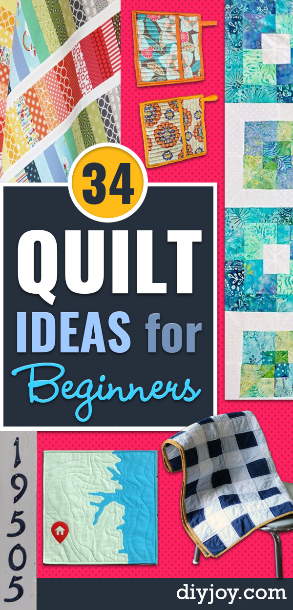 easy quilts for beginners - free quilt patterns and sewing projects With Fat Quarters - How to Make Baby Blankets, Table Runners, Jelly Rolls