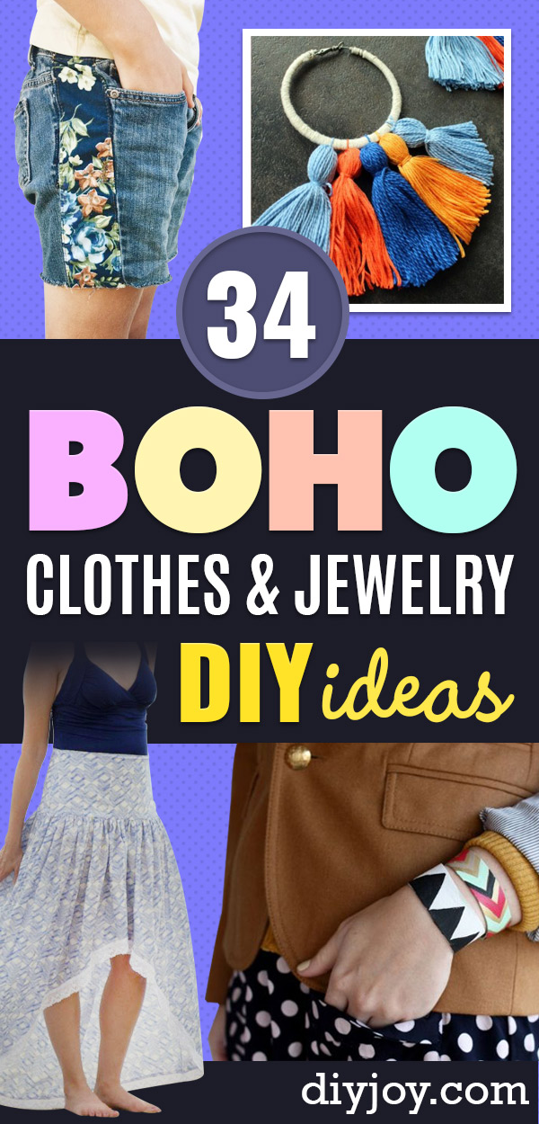 DIY Boho Clothes and Jewelry - How to Make Easy Boho Fashion On A Budget - Edgy Homemade Hippe Clothing Ideas for Summer, Winter, Spring and Fall
