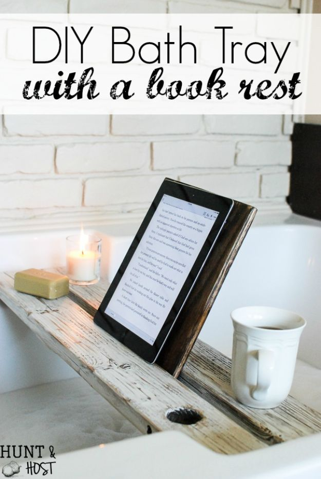 Easy Woodworking Projects - Bath Tray with Book Rest - Cool DIY Wood Projects for Beginners - Easy Project Ideas and Plans for Homemade Gifts and Decor