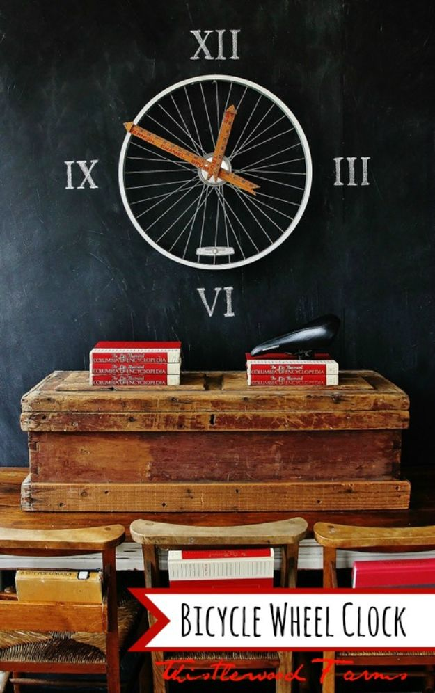 DIY Clocks - Bicycle Wheel Clock - Easy and Cheap Home Decor Ideas and Crafts for Wall Clock - Cool Bedroom and Living Room Decor, Farmhouse and Modern