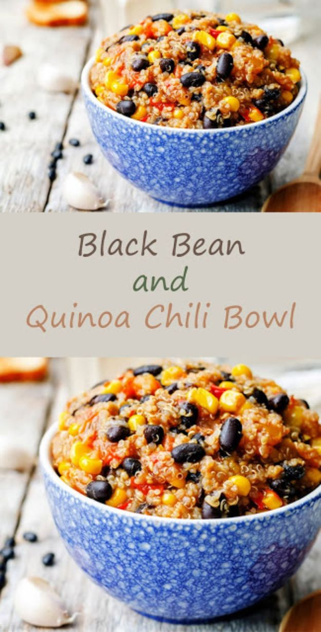 Quinoa Recipes - Black Bean and Quinoa Chili Bowl - Easy Salads, Side Dishes and Healthy Recipe Ideas Made With Quinoa - Vegetable and Grain To Serve For Lunch, Dinner and Snack