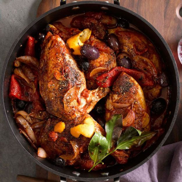 Dutch Oven Recipes - Braised Chicken with Olives and Orange - Easy Ideas for Cooking in Dutch Ovens - Soups, Stews, Chicken Dishes, One Pot Meals and Recipe Ideas to Slow Cook for Easy Weeknight Meals