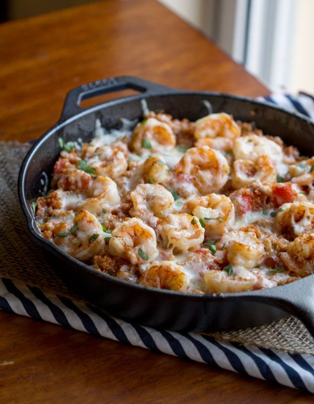 Quinoa Recipes - Cajun Shrimp Quinoa Casserole - Easy Salads, Side Dishes and Healthy Recipe Ideas Made With Quinoa - Vegetable and Grain To Serve For Lunch, Dinner and Snack