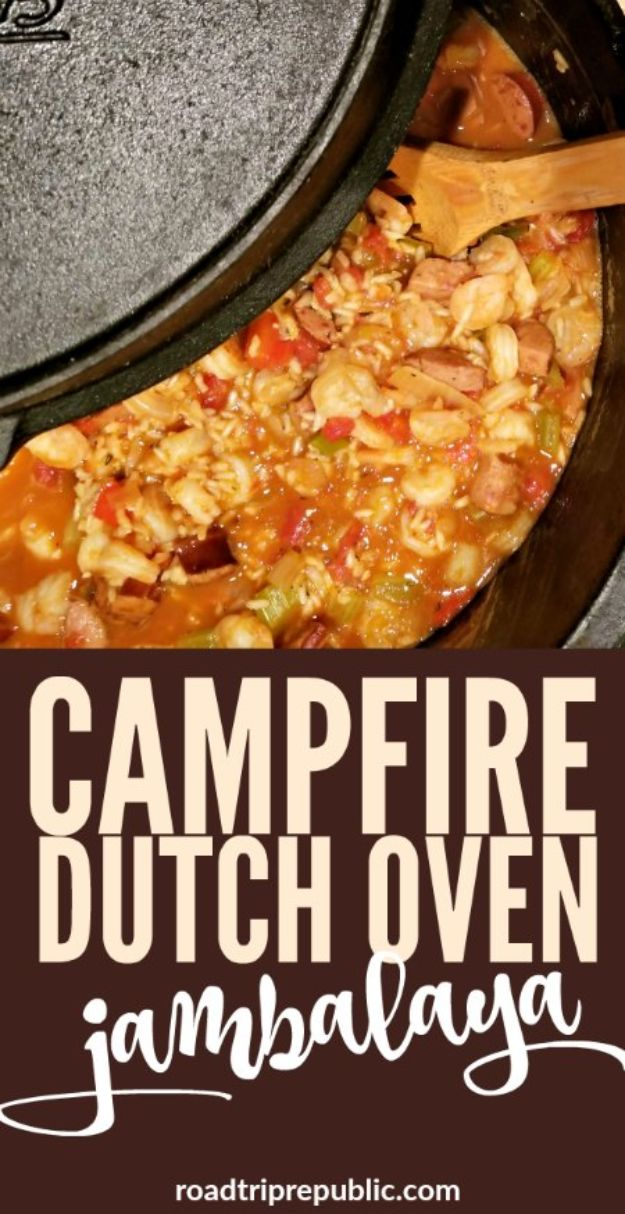 Dutch Oven Recipes - Campfire Dutch Oven Jambalaya - Easy Ideas for Cooking in Dutch Ovens - Soups, Stews, Chicken Dishes, One Pot Meals and Recipe Ideas to Slow Cook for Easy Weeknight Meals