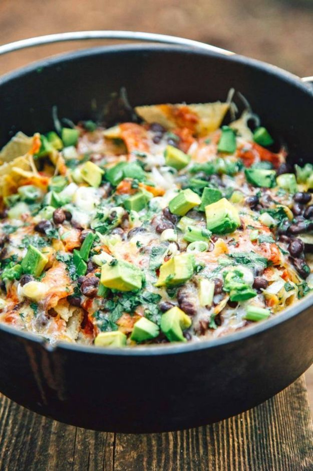 Dutch Oven Recipes - Campfire Nachos - Easy Ideas for Cooking in Dutch Ovens - Soups, Stews, Chicken Dishes, One Pot Meals and Recipe Ideas to Slow Cook for Easy Weeknight Meals