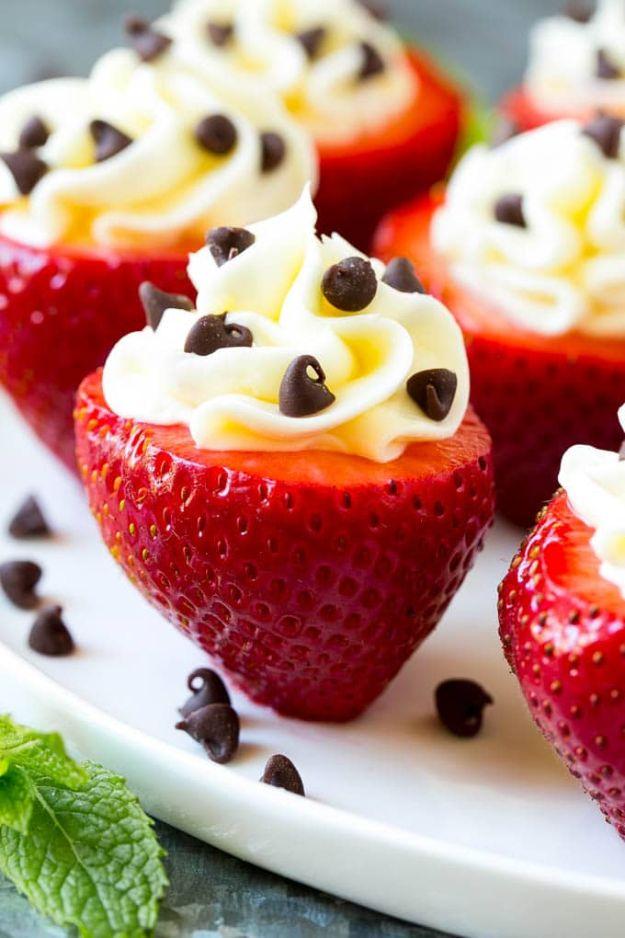 Best Strawberry Recipes - Cheesecake Stuffed Strawberries - Easy Recipe Ideas With Fresh Strawberries - Dessert, Cakes, Breakfast, Muffins, Pie, Salad