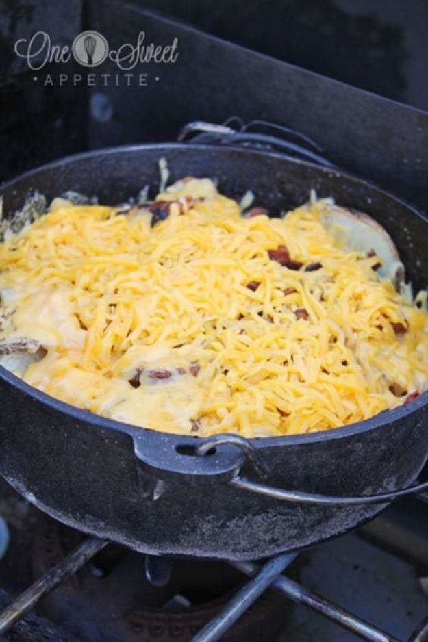 Dutch Oven Recipes - Cheesy Dutch Oven Potatoes - Easy Ideas for Cooking in Dutch Ovens - Soups, Stews, Chicken Dishes, One Pot Meals and Recipe Ideas to Slow Cook for Easy Weeknight Meals