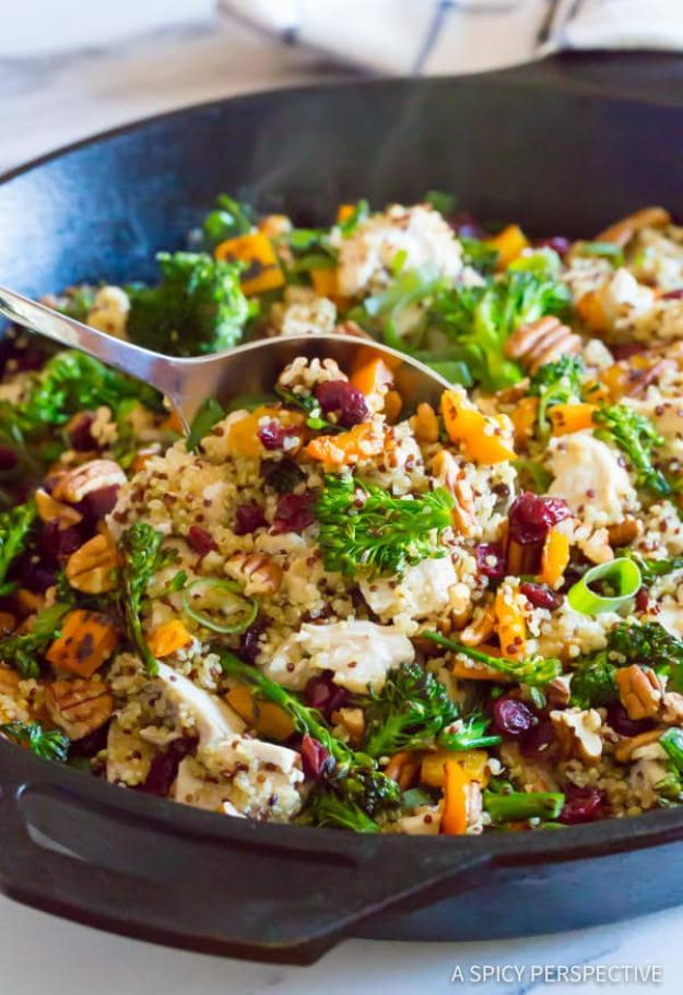 Quinoa Recipes - Chicken Broccoli Quinoa Skillet - Easy Salads, Side Dishes and Healthy Recipe Ideas Made With Quinoa - Vegetable and Grain To Serve For Lunch, Dinner and Snack