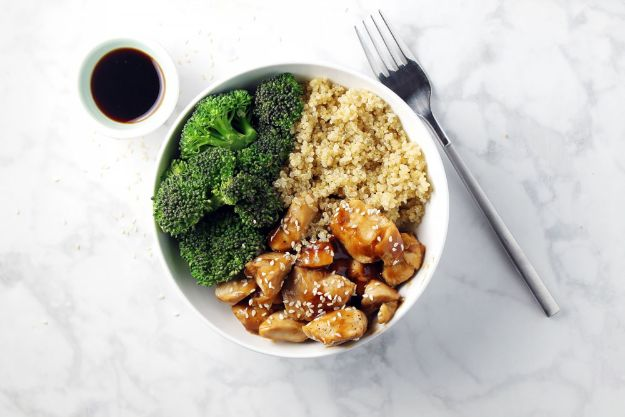 Quinoa Recipes - Chicken Teriyaki Quinoa Bowl - Easy Salads, Side Dishes and Healthy Recipe Ideas Made With Quinoa - Vegetable and Grain To Serve For Lunch, Dinner and Snack