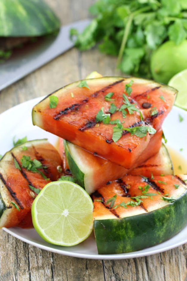 Watermelon Recipes - Cilantro Lime Grilled Watermelon - Easy and Quick Drinks, Salad, Party Foods, Cake, Margaritas