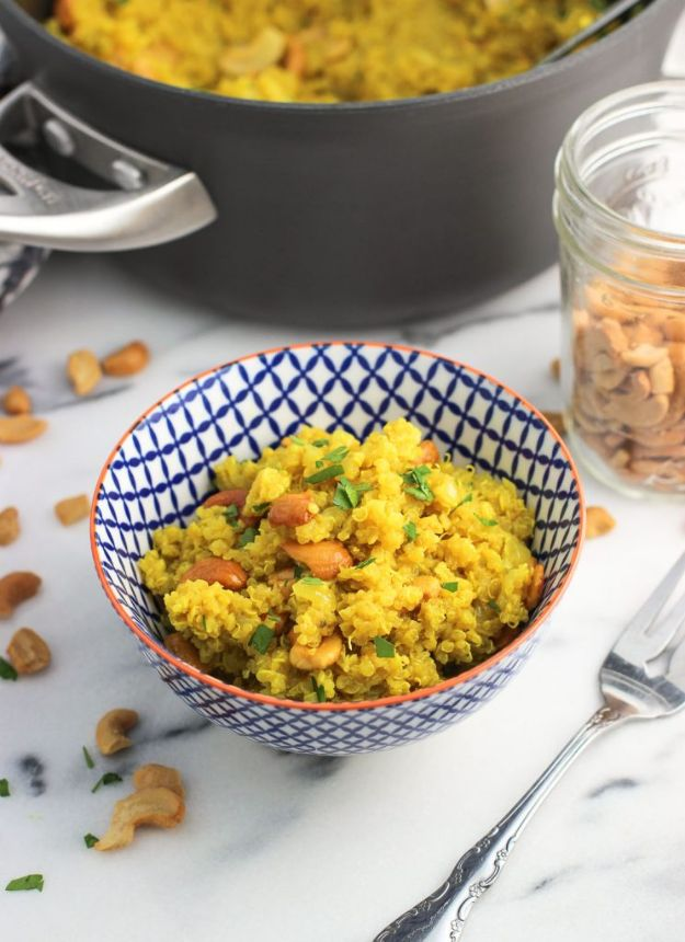 Quinoa Recipes - Coconut Turmeric Quinoa with Cashews - Easy Salads, Side Dishes and Healthy Recipe Ideas Made With Quinoa - Vegetable and Grain To Serve For Lunch, Dinner and Snack