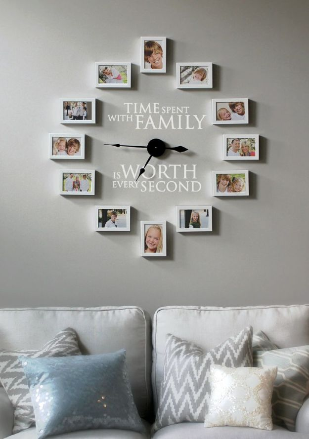 DIY Clocks - Create a Photo Wall Clock - Easy and Cheap Home Decor Ideas and Crafts for Wall Clock - Cool Bedroom and Living Room Decor, Farmhouse and Modern