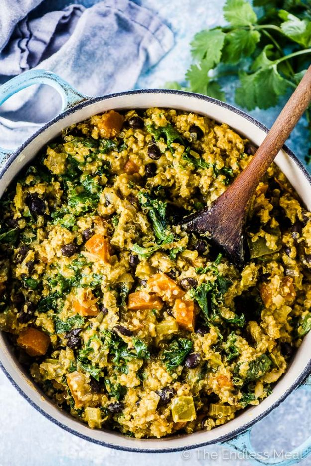 Quinoa Recipes - Curried Quinoa Vegetable Stew - Easy Salads, Side Dishes and Healthy Recipe Ideas Made With Quinoa - Vegetable and Grain To Serve For Lunch, Dinner and Snack