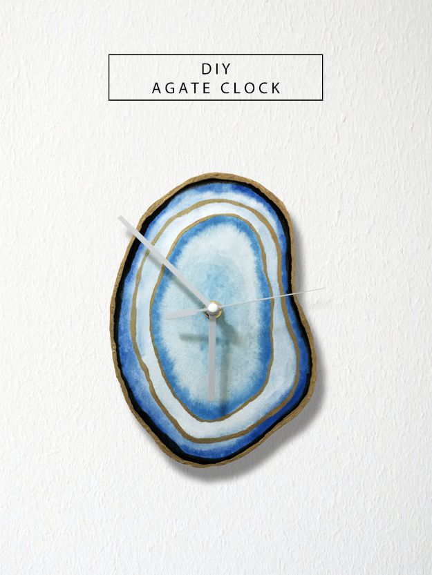 DIY Clocks - DIY Agate Clock - Easy and Cheap Home Decor Ideas and Crafts for Wall Clock - Cool Bedroom and Living Room Decor, Farmhouse and Modern