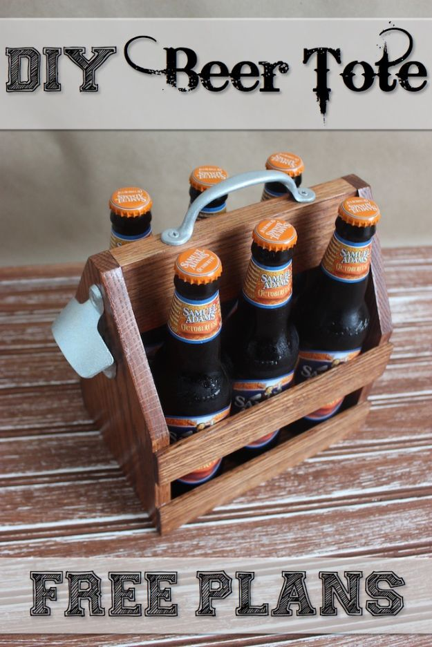 Easy Woodworking Projects - DIY Beer Tote - Cool DIY Wood Projects for Beginners - Easy Project Ideas and Plans for Homemade Gifts and Decor