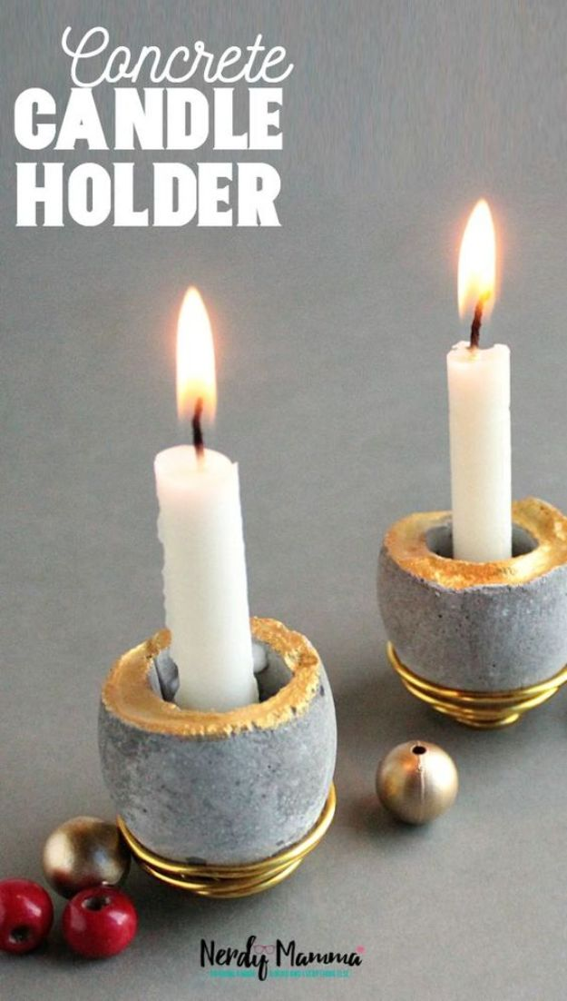 Cheap Mothers Day Gifts - DIY Concrete Candle Holders - Homemade Presents and Gift Ideas for Mom - Cute and Easy Things to Make For Mother
