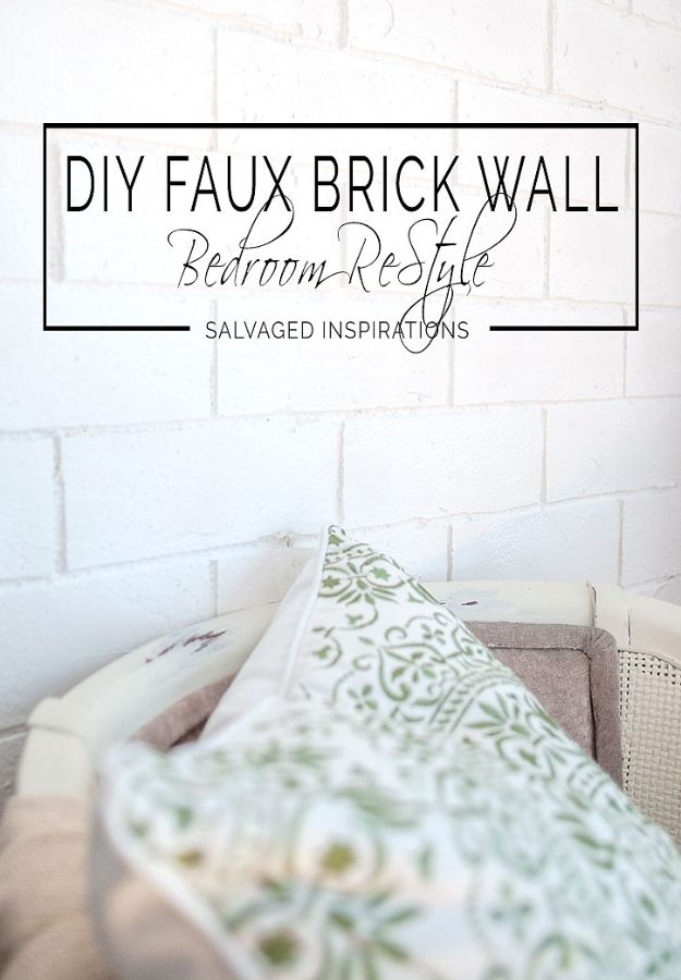 DIY Faux Finishes for Walls - DIY Faux Brick Wall Bedroom Restyle - Step by Step Tutorials for Do It Yourself Faux Finish Wall Textures - Rustic, Colour, Tuscan Style, Simple Metallic, Sponge Painting Techniques, Roller and Drag Texture