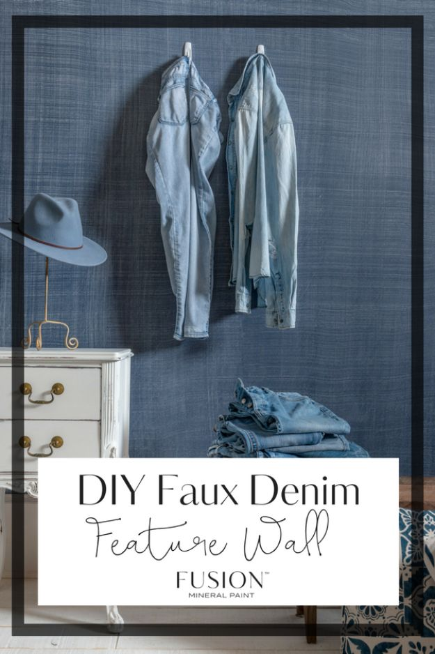 DIY Faux Finishes for Walls - DIY Faux Denim Feature Wall Using Fusion Mineral Paint - Step by Step Tutorials for Do It Yourself Faux Finish Wall Textures - Rustic, Colour, Tuscan Style, Simple Metallic, Sponge Painting Techniques, Roller and Drag Texture