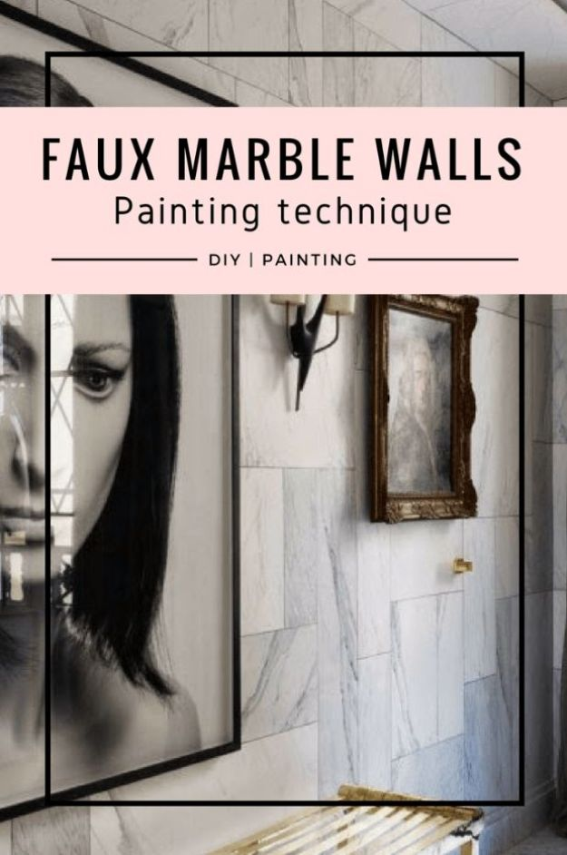 DIY Faux Finishes for Walls - DIY - Faux Marble Walls - Step by Step Tutorials for Do It Yourself Faux Finish Wall Textures - Rustic, Colour, Tuscan Style, Simple Metallic, Sponge Painting Techniques, Roller and Drag Texture
