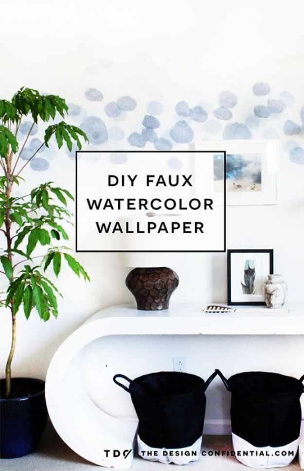 DIY Faux Finishes for Walls - DIY Faux Watercolor Wallpaper Wall Treatment - Step by Step Tutorials for Do It Yourself Faux Finish Wall Textures - Rustic, Colour, Tuscan Style, Simple Metallic, Sponge Painting Techniques, Roller and Drag Texture
