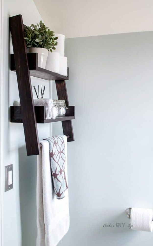Easy Woodworking Projects - DIY Floating Ladder Shelf - Cool DIY Wood Projects for Beginners - Easy Project Ideas and Plans for Homemade Gifts and Decor