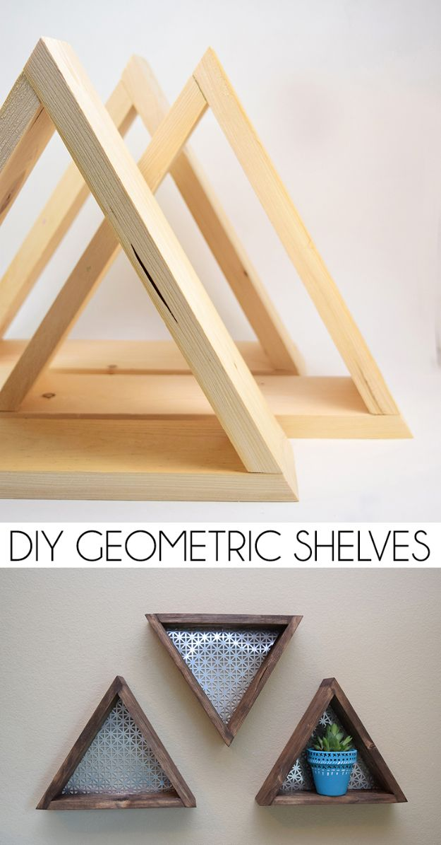 Easy Woodworking Projects - DIY Geometric Shelves - Cool DIY Wood Projects for Beginners - Easy Project Ideas and Plans for Homemade Gifts and Decor