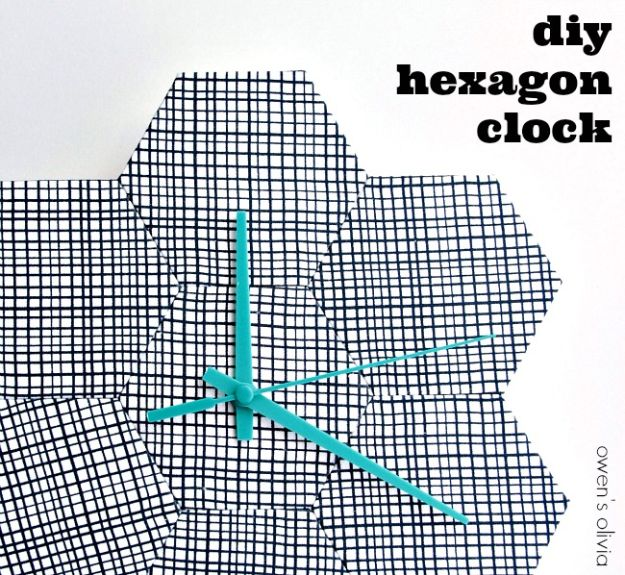 DIY Clocks - DIY Hexagon Clock - Easy and Cheap Home Decor Ideas and Crafts for Wall Clock - Cool Bedroom and Living Room Decor, Farmhouse and Modern
