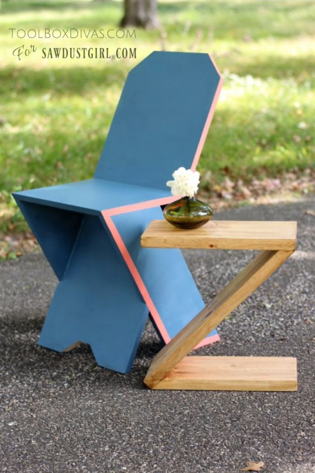 Easy Woodworking Projects - DIY Modern Z Table - Cool DIY Wood Projects for Beginners - Easy Project Ideas and Plans for Homemade Gifts and Decor