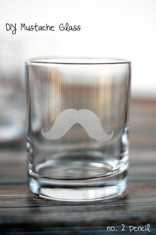 DIY Fathers Day Gifts - DIY Mustache Glass - Homemade Presents and Gift Ideas for Dad - Cute and Easy Things to Make For Father