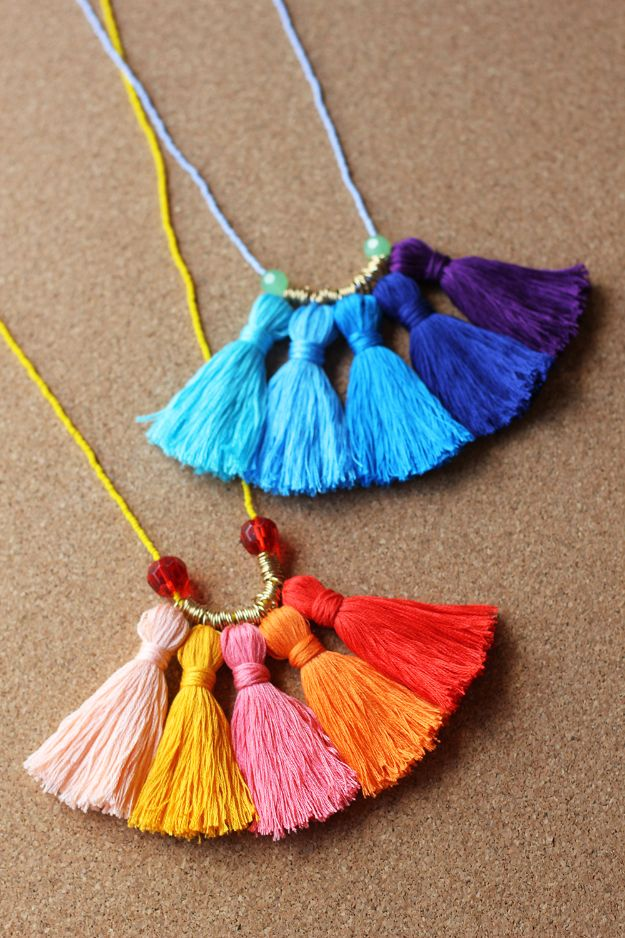 Cheap Mothers Day Gifts - DIY Ombre Tassel Necklace - Homemade Presents and Gift Ideas for Mom - Cute and Easy Things to Make For Mother