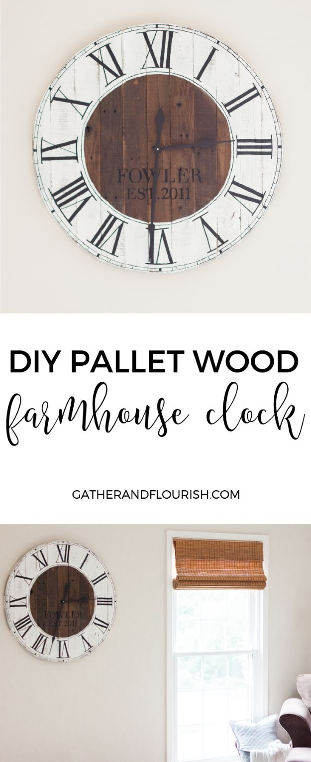 DIY Clocks - DIY Pallet Wood Farmhouse Clock - Easy and Cheap Home Decor Ideas and Crafts for Wall Clock - Cool Bedroom and Living Room Decor, Farmhouse and Modern