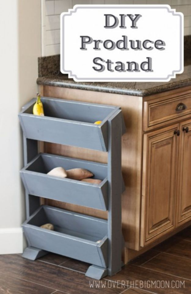 Easy Woodworking Projects - DIY Produce Stand for under $30 - Cool DIY Wood Projects for Beginners - Easy Project Ideas and Plans for Homemade Gifts and Decor