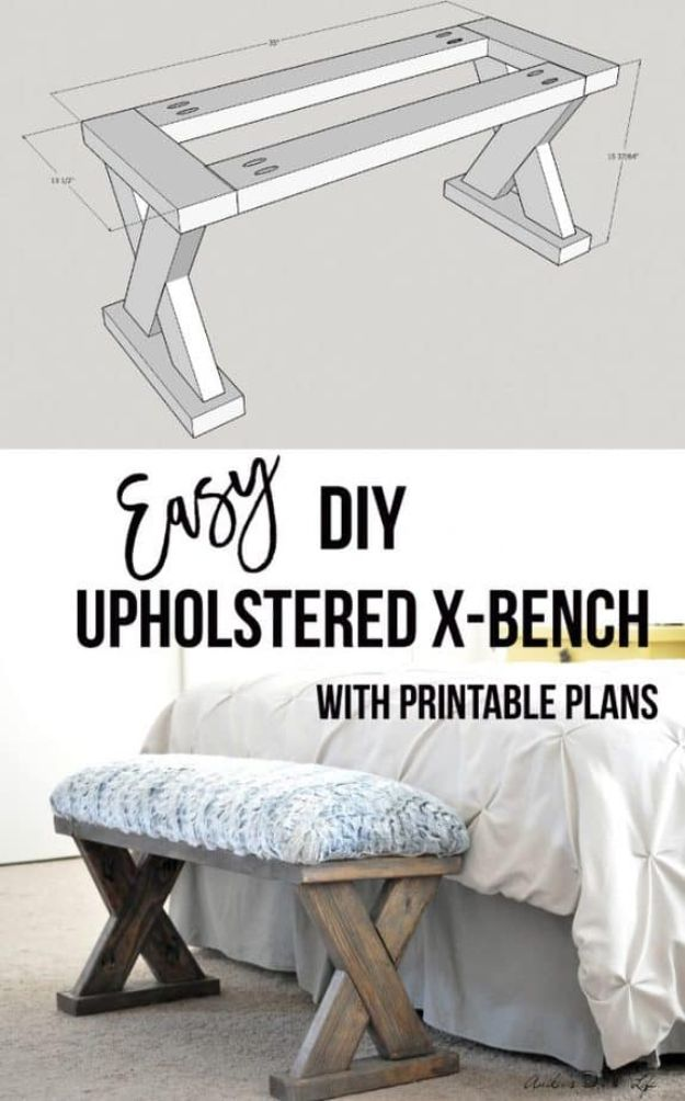 Easy Woodworking Projects - DIY Upholstered X-Bench - Cool DIY Wood Projects for Beginners - Easy Project Ideas and Plans for Homemade Gifts and Decor