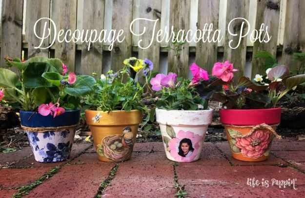 Cheap Mothers Day Gifts - Decoupage Terracotta Pots - Homemade Presents and Gift Ideas for Mom - Cute and Easy Things to Make For Mother