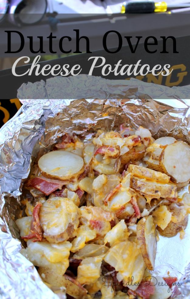 Dutch Oven Recipes - Dutch Oven Cheese Potatoes - Easy Ideas for Cooking in Dutch Ovens - Soups, Stews, Chicken Dishes, One Pot Meals and Recipe Ideas to Slow Cook for Easy Weeknight Meals