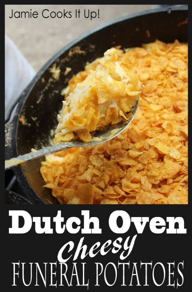 Dutch Oven Recipes - Dutch Oven Cheesy Funeral Potatoes - Easy Ideas for Cooking in Dutch Ovens - Soups, Stews, Chicken Dishes, One Pot Meals and Recipe Ideas to Slow Cook for Easy Weeknight Meals