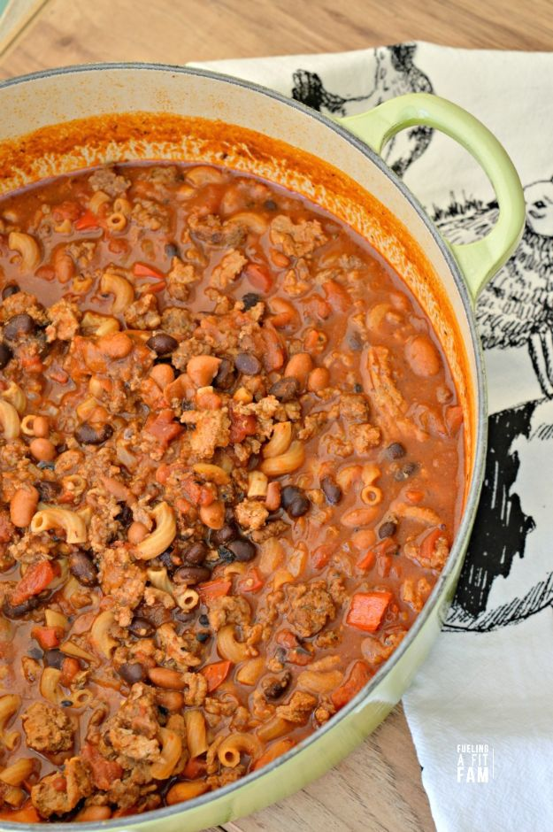 Dutch Oven Recipes - Dutch Oven Chili Mac - Easy Ideas for Cooking in Dutch Ovens - Soups, Stews, Chicken Dishes, One Pot Meals and Recipe Ideas to Slow Cook for Easy Weeknight Meals