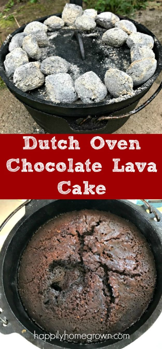 Dutch Oven Recipes - Dutch Oven Chocolate Lava Cake - Easy Ideas for Cooking in Dutch Ovens - Soups, Stews, Chicken Dishes, One Pot Meals and Recipe Ideas to Slow Cook for Easy Weeknight Meals