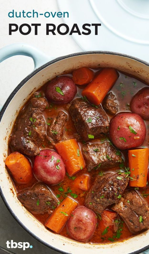Dutch Oven Recipes - Dutch-Oven Pot Roast - Easy Ideas for Cooking in Dutch Ovens - Soups, Stews, Chicken Dishes, One Pot Meals and Recipe Ideas to Slow Cook for Easy Weeknight Meals