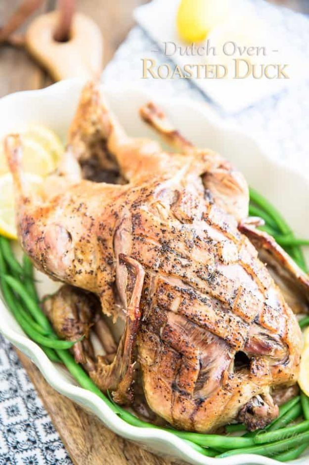 Dutch Oven Recipes - Dutch Oven Roasted Duck - Easy Ideas for Cooking in Dutch Ovens - Soups, Stews, Chicken Dishes, One Pot Meals and Recipe Ideas to Slow Cook for Easy Weeknight Meals