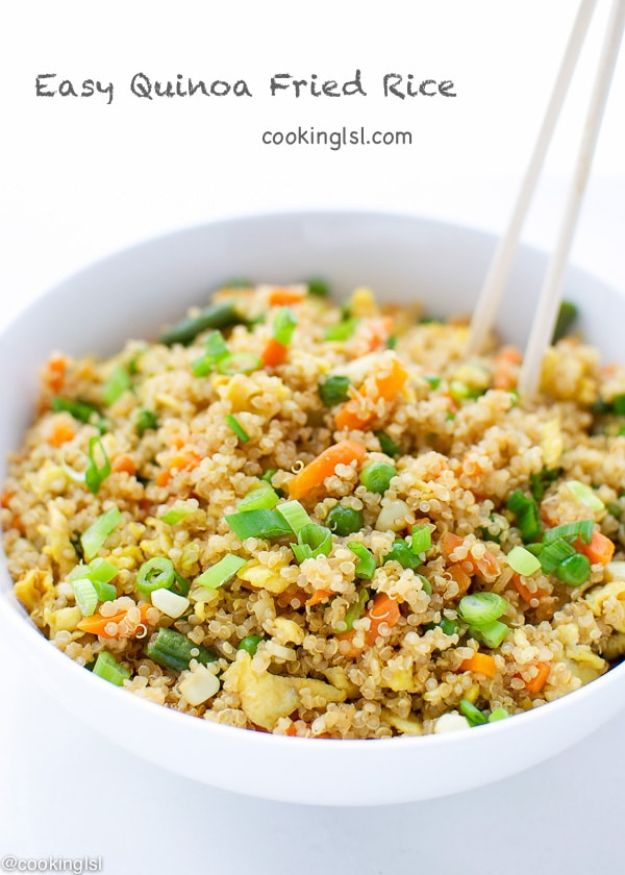 Quinoa Recipes - Easy Quinoa Fried Rice - Easy Salads, Side Dishes and Healthy Recipe Ideas Made With Quinoa - Vegetable and Grain To Serve For Lunch, Dinner and Snack