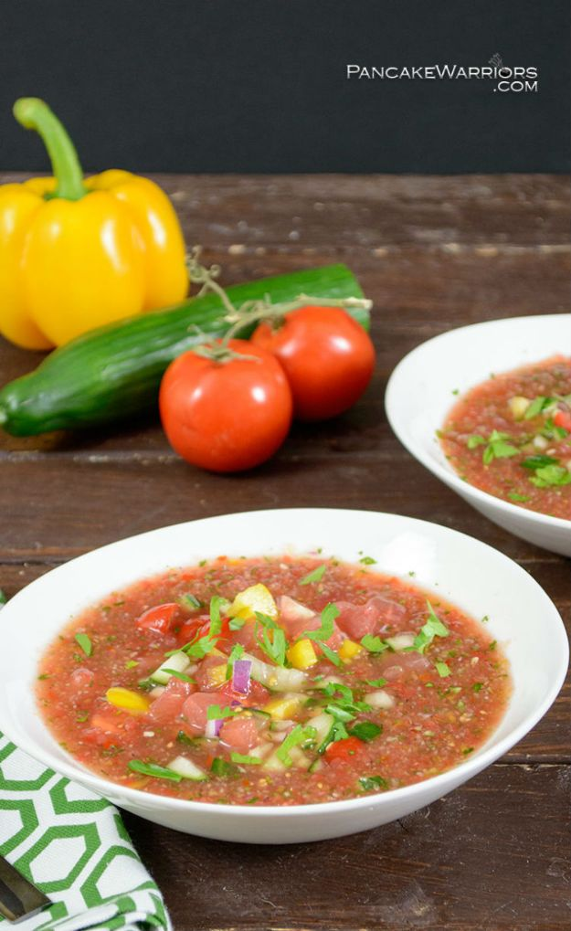 Watermelon Recipes - Easy Watermelon Gazpacho - Recipe Ideas for Watermelon - Easy and Quick Drinks, Salad, Party Foods, Cake, Margaritas